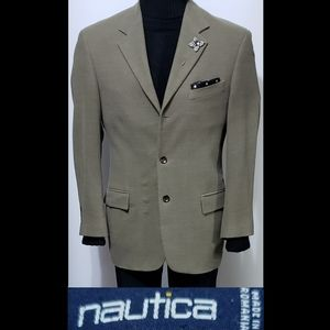 NAUTICA MEN'S GREEN 2-BTN 100% WOOL 40R Sport Coat